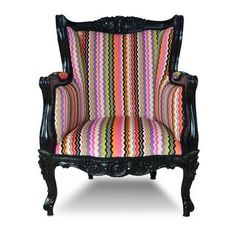 I love the pattern and the elegance of this chair. Fun & sophisticated all rolled into one!