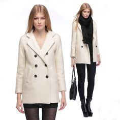 Women Hot Fashion Double Breasted Long Sections Beige Winter Wool Coats