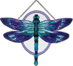 """Stained Glass"" Water Cut Fired Dragonfly Suncatcher B Dragonfly Stained Glass, Stained Glass Tattoo, Stained Glass Suncatchers, Dragonfly Art, Glass Butterfly, Stained Glass Designs, Stained Glass Projects, Stained Glass Patterns, Stained Glass Art"