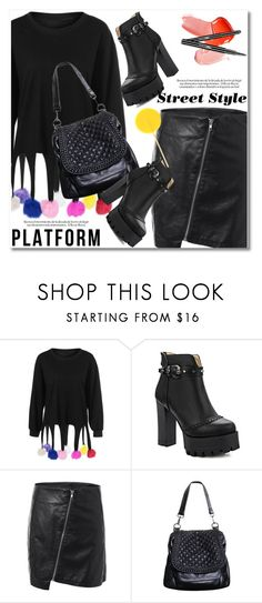 """""""Platform Boots"""" by svijetlana ❤ liked on Polyvore featuring platforms, leatherskirt, polyvoreeditorial and twinkledeals"""