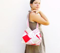 Patched History Bag  Bright Red and White Patchwork by StarBags, $107.00