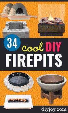 diy fire pits - Cheap and Easy backyard firepit diy Projects - Step by Step Tutorial for Raised Firepit In Ground Portable Brick Stone Metal and Cinder Block Outdoor Fireplace Foyers, Diy Projects Step By Step, Diy Blanket Ladder, Diy Fire Pit, Fire Pits, Diy Fireplace, Diy Home Decor Projects, Decor Crafts, Diy Crafts