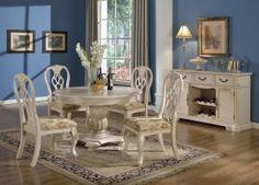 5-Pc Mcferran D9301 Crown White Wash Round Dining Set