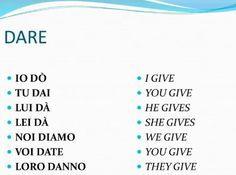 Verbi italiani irregolari - DARE (dati - to give):
