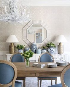 """177 Likes, 12 Comments - Anna-Wooten Loggins (@a.wooten_interiors) on Instagram: """"Lots of #blueandwhite in this client's Dining Room. #goheels #itsalmostcarolinablue…"""""""