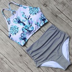 Women High Waist Floral Swimsuit Set Padded #beach#trends#style#swimsuit