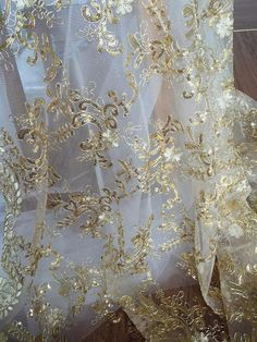 Champagne Gold Tulle Bridal Lace Fabric, Double Scalloped Embroidered Fabric for Wedding, Bridals, Gowns, Ball Gowns Gold Lace Fabric, Gold Tulle, Bridal Lace Fabric, Wedding Fabric, Gold Sequins, Wedding Linens, Metallic Gold, Wedding Cake, Wedding Reception