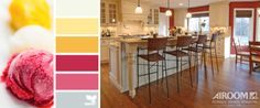 SWEET AND SASSY Sweet and sassy is how one might describe this kitchen remodel and color palette. This comfortable and inviting kitchen could easily have been inspired by cool vanilla ice cream and raspberry gelato. Crisp white finishes and warm crème cabinetry are complimented by bold red accent walls and warm hardwood floors. This kitchen remodel is now a perfect space for family dinners and for large group entertaining.