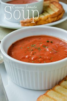 Creamy Tomato Soup - Mother Thyme. Make sure chicken broth is gluten free, or just use water. I also added three 15oz cans of diced tomatoes to make it a little more chunky and it was AMAZING!!!