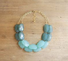 Ombre Turquoise Blue Double Strand Statement Necklace by ShopNestled