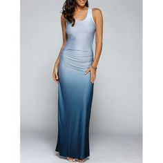 Gradient Color Maxi Dress, LIGHT BLUE, XL in Maxi Dresses | DressLily.com