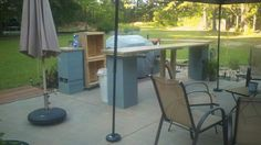 Christened bar and seating area on Memorial Day Concept simple. Getting all squared and level is always hard, esp when patio is on a grade for runoff. Sun Shade Fabric, Make Build, Backyard Bar, Outdoor Furniture Sets, Outdoor Decor, Pvc Pipe, Canopy, Concrete, Grilling