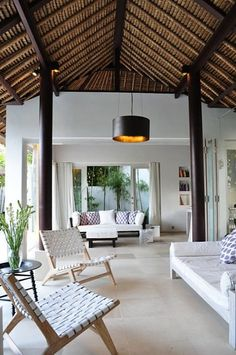 River Moon Villa (Vacation Rental in Ubud, Bali, Indonesia. 2 bed 2 bath, From… Interior Architecture, Interior And Exterior, Exterior Colors, Interior Ideas, Balinese Interior, Casas Containers, Rest House, Beach Cottage Style, Thatched Roof