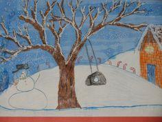 "2nd grade winter tree watercolor landscape painting; 12""X18""; lesson designed by art teacher: Susan Joe"