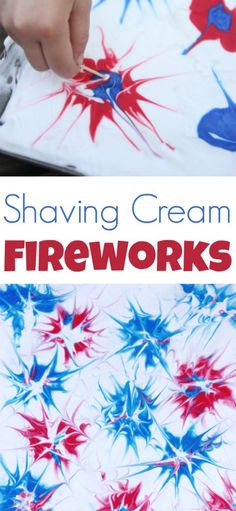 Cream Fireworks - I Can Teach My Child! Shaving Cream Fireworks process art activity for kids- fun patriotic craft for the of July!Shaving Cream Fireworks process art activity for kids- fun patriotic craft for the of July! Art Activities For Kids, Preschool Crafts, Kids Crafts, Art For Kids, Kids Fun, Art Crafts, Process Art Preschool, Summer Activities, Crafts