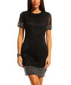 Look what I found on #zulily! Black Lattice Sheath Dress #zulilyfinds