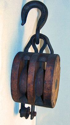 Antique Maritime Iron & Wood Double Block & Tackle Pulley Western Block Co
