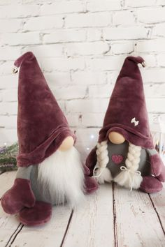 Gnomes Purple couple Scandinavian plush ornament toy Tomte Nordic New Year home decor Nisse holiday gift elf Christmas Gnome, Christmas Baby, Holiday Gifts, Diy And Crafts, Birthday Gifts, Unique Gifts, Valentines, Etsy, Christmas Decor
