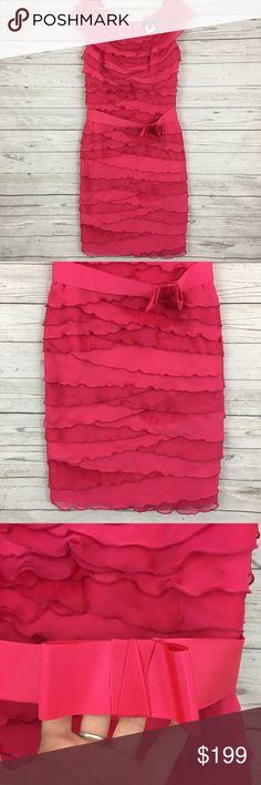 "Tadashi Shoji tiered ruffle bow sheath dress Great condition. 18.5"" armpit to armpit and 41"" long. Waist measures 16"" across laying flat unstretched Tadashi Shoji Dresses"