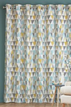 geometric curtain print next bedroom mood make house home homely neutral tones yellow blue grey cream