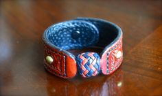 Navy and Bordeaux Turk's Head leather bracelet.  Handcrafted with skill and pride. on Etsy, $70.00