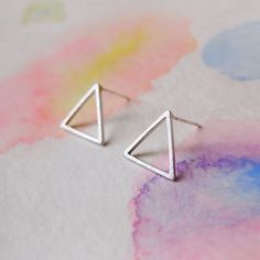 Simple Delicate Matte Silver Triangle  Stud / Post by RecocoNYC, $15.00