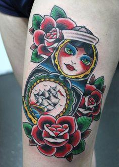 Russian doll tattoo - Richie Clarke, Oldschool