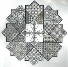 This isnt a challenge at all, but a wonderful Blackwork Sampler. Learn 17 different filling stitches to create this mesmerizing Star. The design is work on 14 count white Aida (3706-001) using DMC Floss in Black X2 (DM001-0310) and Precious Metals White Gold (DM001-E3821). Mill Hill Frosted Gold beads add elegance to the pattern (MH62031).