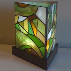 """""""Abstract Green"""" Three Panel Stained Glass Lantern - by Smash Glassworks Stained Glass Light, Stained Glass Projects, Stained Glass Patterns, Stained Glass Windows, Leaded Glass, Mosaic Glass, Lampe Art Deco, Glass Painting Designs, Glass Birds"""