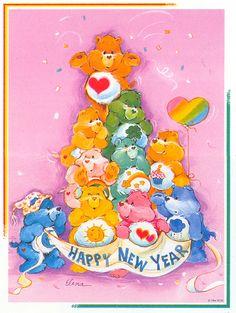 Care Bears: Tenderheart, Friend, Good Luck, Cheer, Wish, Birthday, Bedtime, Funshine, Love-a-Lot and Grumpy Bear Wishing a Happy New Year