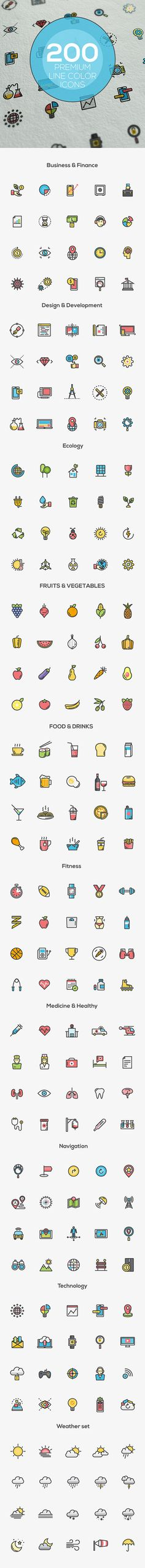 Line Color icons set on Behance