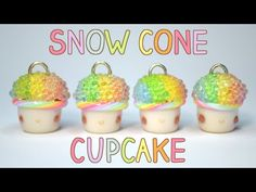Rainbow Snow Cone Cupcake | Polymer Clay Tutorial - YouTube