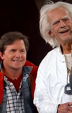 """""""Back to the Future Day"""" October 21, 2015. Michael J. Fox and Christopher Lloyd celebrate in character."""