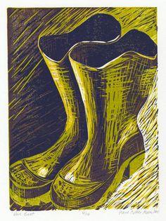 "Anne Cotter Moses Das Boot Linocut 15"" x 11""(paper), 12"" x 9"","