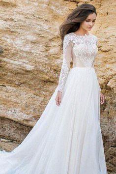 A-line Wedding Dresses, White Wedding Dresses, Long Wedding Dresses With Lace Long Sleeve Sweep train