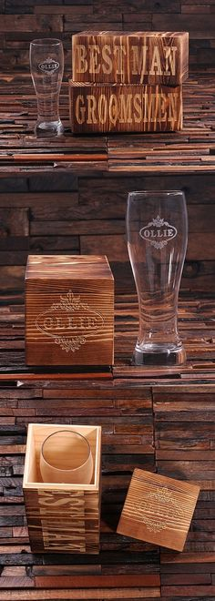 Personalized 24 oz. Pilsner Glass in Wood Gift-Box for Groomsmen | Personalized Gifts and Party Favors