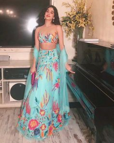 From promotional events to star-studded weddings, Bollywood's best dressed celebrities have taken Manish Malhotra's lehengas to almost every event on their busy calendars Designer Bridal Lehenga, Bridal Lehenga Choli, Indian Attire, Indian Wear, Indian Style, Indian Dresses, Indian Outfits, Indian Clothes, Desi Clothes