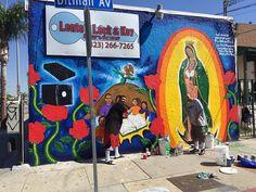 gets busy freshening up the neighborhood on and de Graffiti Murals, Mural Art, Wall Mural, Chicano Love, Chicano Art, Lowrider Art, Aztec Art, Mexican Art, City Art