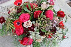 photo by Sophisticated   red marsala burgundy garden style bridal bouquet garden roses anemone ranunculus pieris, fern, berries