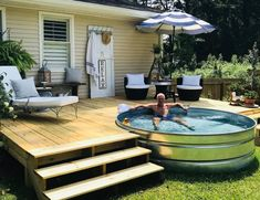 Christens Creations,HOME! Christens Creations Related DIY Swimming Pool Ideas and Designs: Stock Pools, Stock Tank Pool, Diy Swimming Pool, Diy Pool, Jacuzzi, Homemade Pools, Backyard Retreat, Backyard Ideas, Backyard Makeover