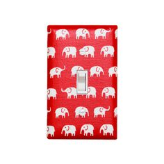 Red Elephant Light Switch Plate / Baby Girl Boy by SSKDesigns