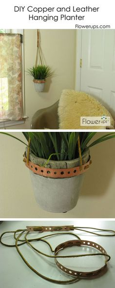 So cute. Cool DIY Hanging Planter.     This would look great with my painted flowerpot