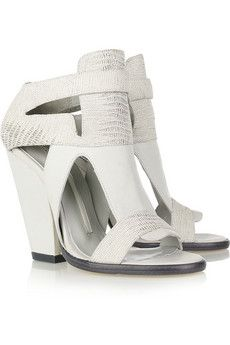 Leather and lizard-effect sandals