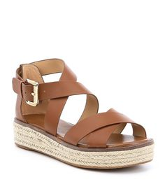 b2d72cb3688 MICHAEL Michael Kors Darby Vachetta Leather Flatform Espadrille Sandals