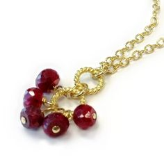 Ruby Necklace Gold Jewelry Modern Simple by jewelrybycarmal, $46.00