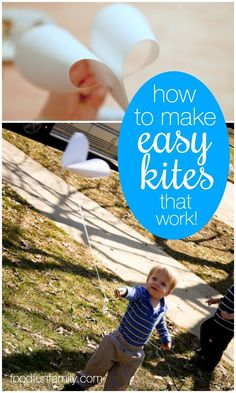 How to make easy kites that work! These kites only take a few minutes to make and they're easy enough for preschool kids to make (with a little adult help) and fly (on their own)! #Kites