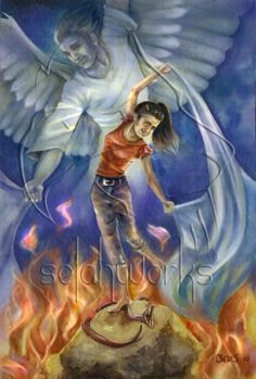 Prophetic Art painting of girl during worship. Angel and fire, and girls foot on the servant. Please also visit www.JustForYouPropheticArt.com for more colorful art you might like to pin. Thanks for looking!