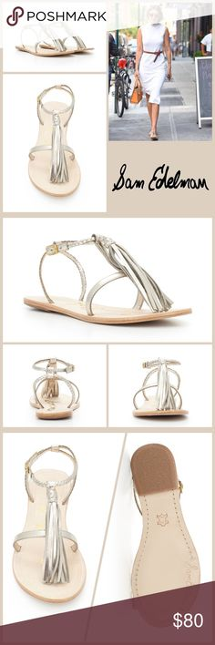 JUST IN 🆕 METALLIC FRINGE BRAIDED SLINGBACK The delicate Erica sandal boasts some serious bohemian style!  ▪️Leather upper features a large tassel detail ▪️Adjustable-buckle closure ▪️Open-toe design ▪️Leather footbed ▪️Slight heel ▪️Leather outsole   🛍BUNDLE=SAVE  🚫TRADE🚫HOLD🚫MODEL  💯Brand Authentic  ✈️Ship Same Day--Buy By 2PM PST  🖲USE OFFER BUTTON TO NEGOTIATE   ✔️Ask Questions Not Answered In Description--Want You To Be Happy! Sam Edelman Shoes Sandals