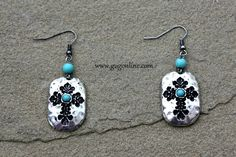 Shop now at www.gugonline.com and use the discount code GUGREPKCAR for 10% off your entire purchase! Silver Earrings with Embossed Crosses and Turquoise Centers $8.95