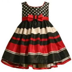 Bonnie Jean Baby/Infant Girls 12M 24M 2 Piece RED BLACK WHITE DOTS BOLD STRIPE SHANTUNG Special Occasion Christmas Holiday Party Dress 24M BNJ 4848X X14848 Infant And Toddler Dresses Clothing
